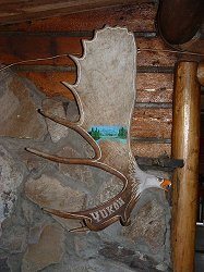 Antler art at Moose Creek Lodge, Yukon Territory