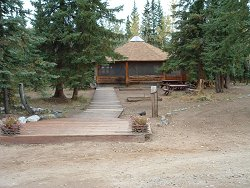 The gazebo for group meals at Moose Creek Lodge, Yukon Territory